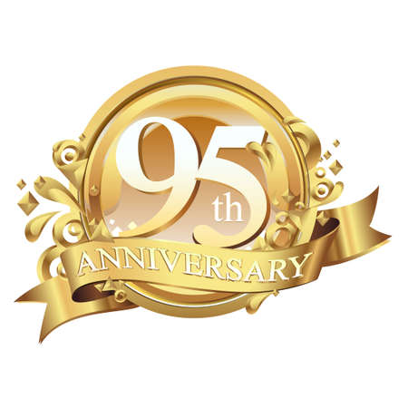 anniversary golden decorative background ring and ribbon 95