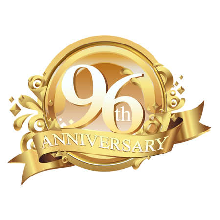 anniversary golden decorative background ring and ribbon 96