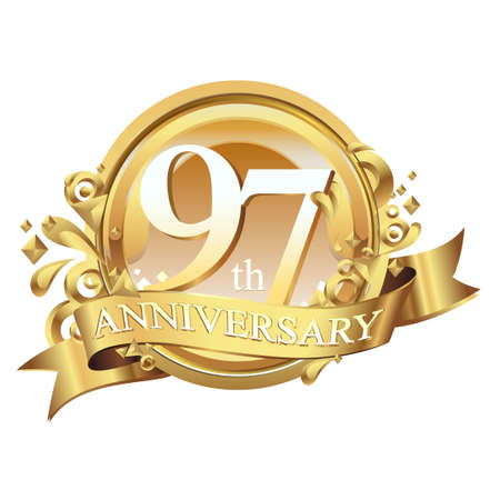 anniversary golden decorative background ring and ribbon 97 Stock Illustratie
