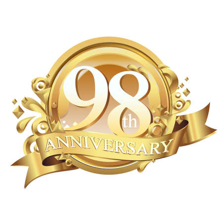 anniversary golden decorative background ring and ribbon 98