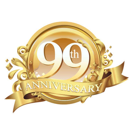99: anniversary golden decorative background ring and ribbon 99