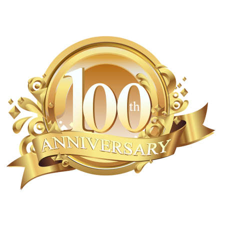hundred: anniversary golden decorative background ring and ribbon 100