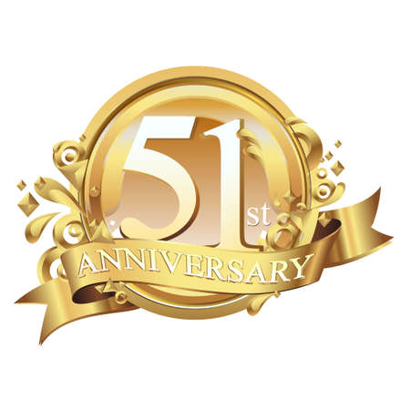 anniversary golden decorative background ring and ribbon 51 Ilustração
