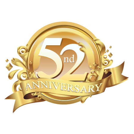 anniversary golden decorative background ring and ribbon 52 Stock Illustratie