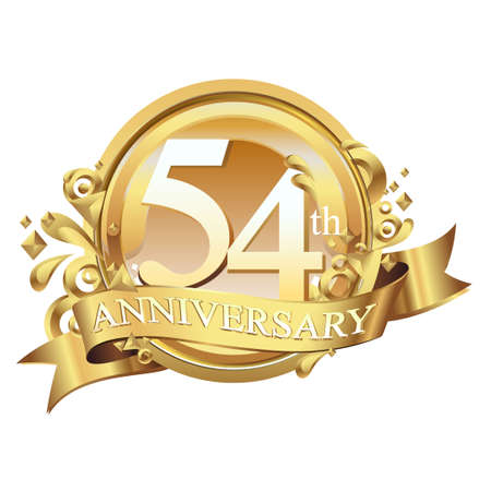 anniversary golden decorative background ring and ribbon 54 Stock Illustratie