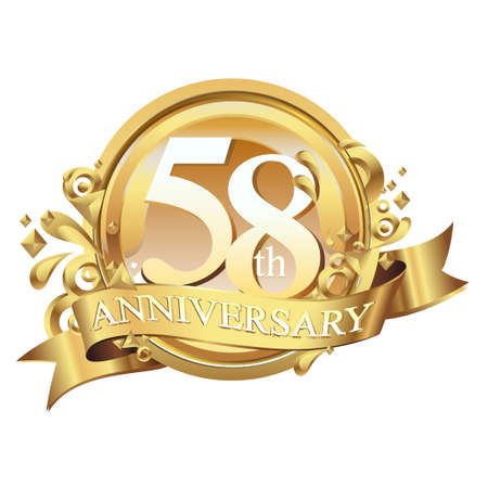 anniversary golden decorative background ring and ribbon 58