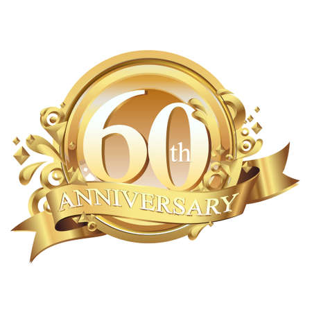 anniversary golden decorative background ring and ribbon 60