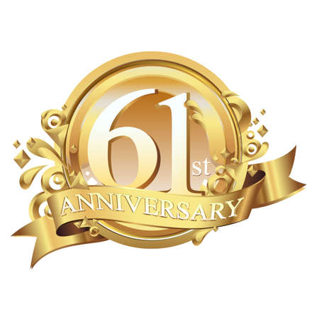 anniversary golden decorative background ring and ribbon 61