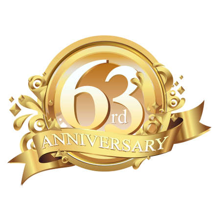 anniversary golden decorative background ring and ribbon 63