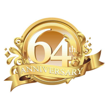 anniversary golden decorative background ring and ribbon 64