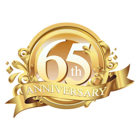 anniversary golden decorative background ring and ribbon 65