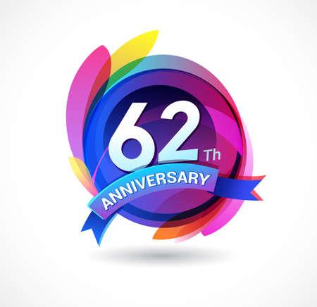 62 years anniversary logo Stock Illustratie