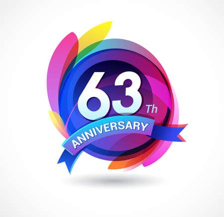 63 years anniversary logo Ilustração