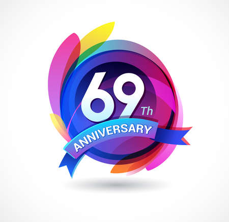 69 years anniversary logo Stock Illustratie