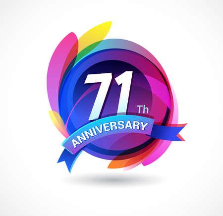 71 years anniversary logo Ilustração