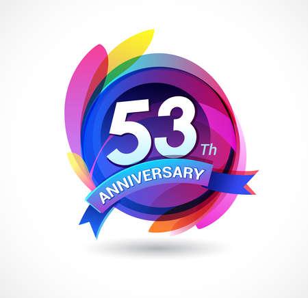 53 years anniversary logo Stock Illustratie