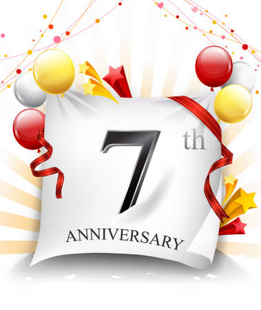 7 Years Anniversary Celebration Design on cloth, with star and balloons, Colorful Vector template elements for your birthday party. - Vector