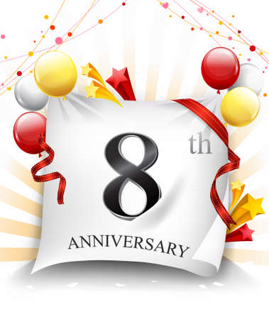 8 Years Anniversary Celebration Design on cloth, with star and balloons, Colorful Vector template elements for your birthday party. - Vector