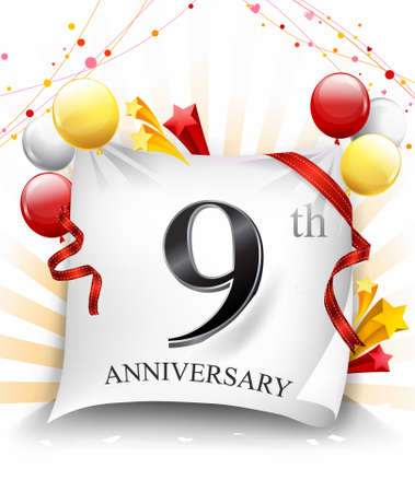 9 Years Anniversary Celebration Design on cloth, with star and balloons, Colorful Vector template elements for your birthday party. - Vector