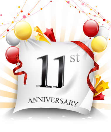 11th Years Anniversary Celebration Design on cloth, with star and balloons, Colorful Vector template elements for your birthday party. - Vector