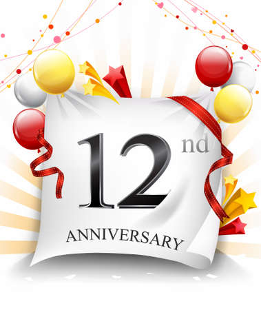 12th Years Anniversary Celebration Design on cloth, with star and balloons, Colorful Vector template elements for your birthday party. - Vector Ilustração