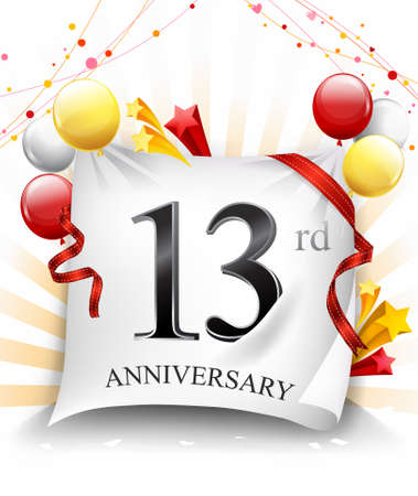 13 Years Anniversary Celebration Design on cloth, with star and balloons, Colorful Vector template elements for your birthday party. - Vector Stock Illustratie