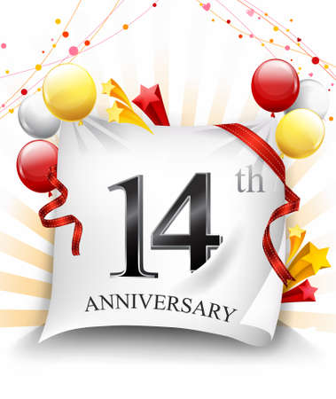 14 Years Anniversary Celebration Design on cloth, with star and balloons, Colorful Vector template elements for your birthday party. - Vector