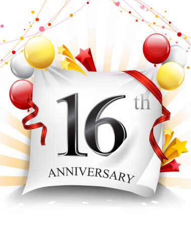 16 Years Anniversary Celebration Design on cloth, with star and balloons, Colorful Vector template elements for your birthday party. - Vector