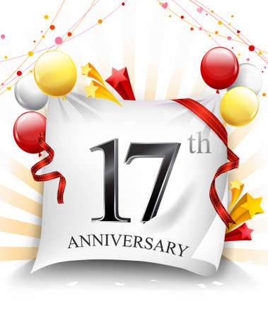 17 Years Anniversary Celebration Design on cloth, with star and balloons, Colorful Vector template elements for your birthday party. - Vector Stock Illustratie
