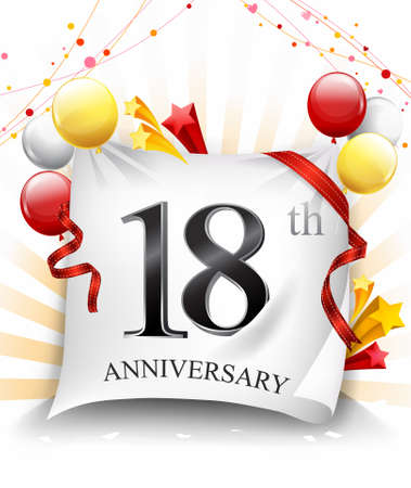 18 Years Anniversary Celebration Design on cloth, with star and balloons, Colorful Vector template elements for your birthday party. - Vector Stock Illustratie