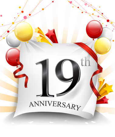 19 Years Anniversary Celebration Design on cloth, with star and balloons, Colorful Vector template elements for your birthday party. - Vector