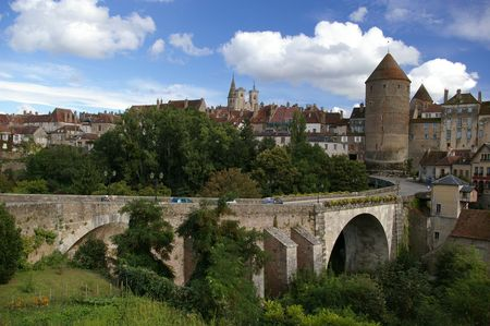 Bridge and tower in beautiful medieval town in France
