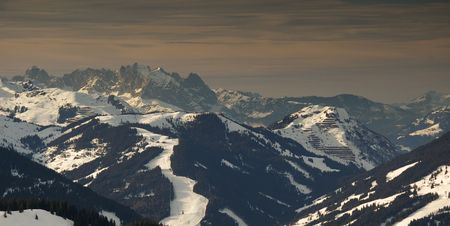 Mountain range in Austrian Alps in beautiful late evening light Stock Photo