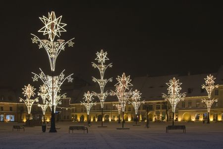 christmas lights in main square of sibiu transylvania