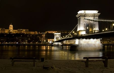 budapest bridge chain by night long exposure of danube long exposure both shores with architectural lights photo