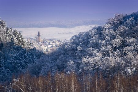 winter landscape forest transylvanian village and church tower sunny day Stock Photo - 6481119