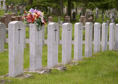 headstones: cemetary tombstones of war heroes in american graveyard Stock Photo