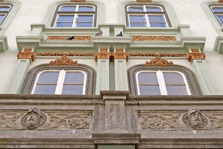 building exterior with window and balcony neoclassic architecture in Sibiu Transylvania Romania Stock Photo - 6672654