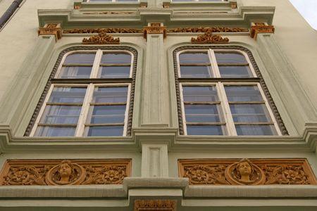 neoclassic: building exterior with window neoclassic architecture in Sibiu Transylvania Romania