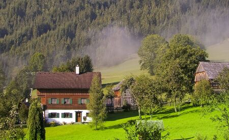 alps mountain valley gosau village in austria houses on green summer meadow