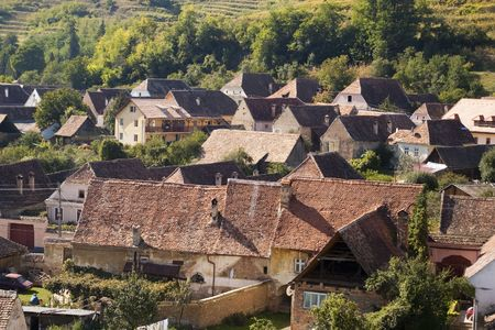 biertan: houses in romanian transylvanian village of Biertan