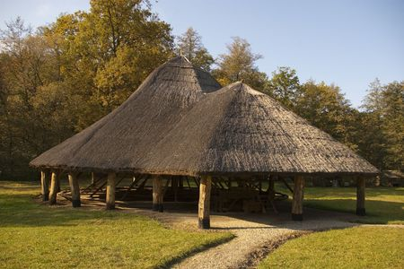 thached roof building made from wood in open air museum in Sibiu
