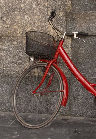 red bicycle with basket  Stock Photo