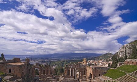 Taormina amphitheater in Sicily Italy in spring at Etnas foot photo