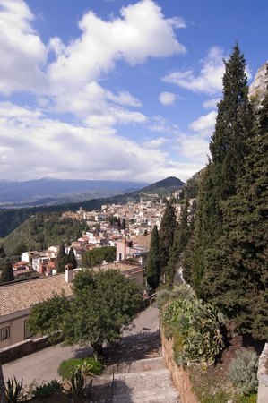 Town of Taormina in Sicily Italy in spring view from greek theater entrance photo