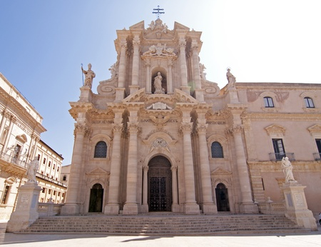 Cathedral in Siracusa Sicily Italy built by bishop Zosimo in the 7th century over the great Temple of Athena (5th BC), on the Ortygia island