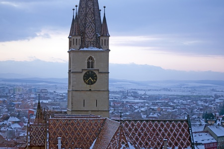 Sibiu, Transylvania, Romania, tower of lutheran cathedral