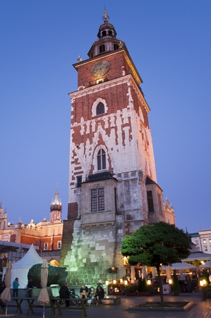 Gothic town hall tower in Krakow by night