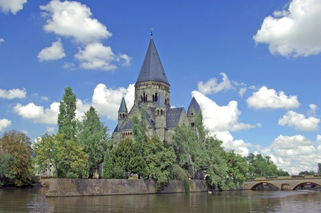 Church in Metz, Lorraine, France on Moselle river