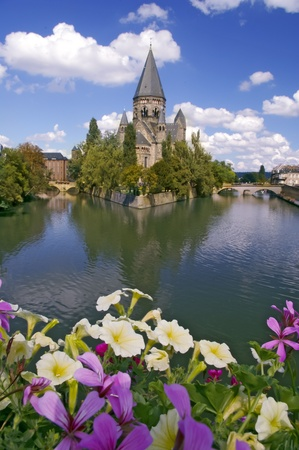 Church in Metz,  France on Moselle river Stock Photo